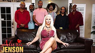 Alura Jenson gangbanged away from six black cocks at once