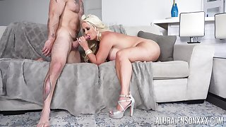 Blonde cougar rides the big stick after making sure it's wet and soaked