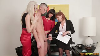Clothed females in crazy CFNM porn at the office