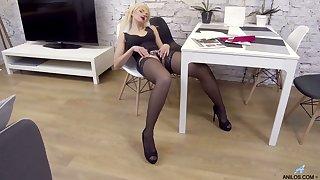 Long legged auburn MILF Zara loves petting herself on hammer away rocking-chair