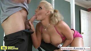 Busty sporty sexy nympho Phoenix Marie is poked doggy and rides cock