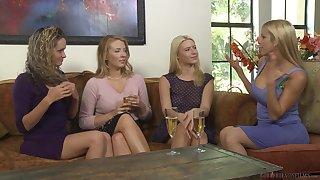 Alluring blonde lesbian Prinzzess licks Shauna Skye's shaved pussy