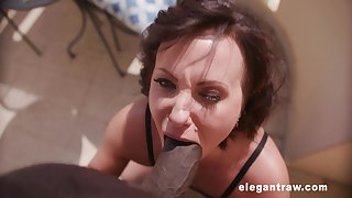 Short haired mature floosie Alysa Gap missionary fucked by a black cock