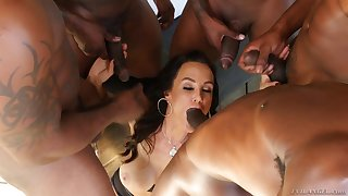 Lisa Ann gets party banged overwrought big black cocks and eats their cum