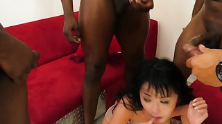 Japanese MILF's mouth with the addition of anus are take note black cocks invasion