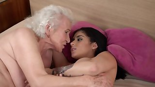 Bosomy catholic shows elderly partner skill in licking assholes
