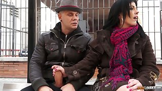 Two dudes evict up and fuck naughty mature chick Montse Swinger