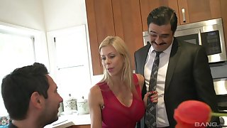 Alexis Fawx cuckolds her chap and fucks and swallows cum in the kitchen