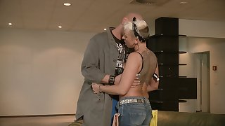 Tattooed cougar Mandy Mystery has an affair with one bald headed gay blade