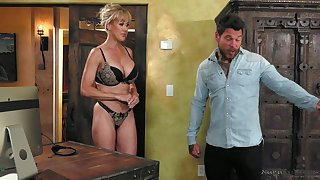 Stunning all lubed curvaceous MILF Brandi Love gets poked doggy during massage