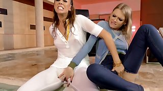 Lesbians Ani Black Fox and Lucy Heart finger each other wildly