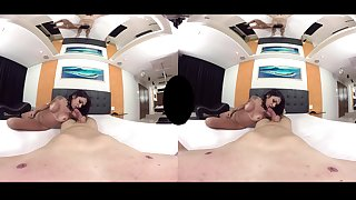 A stright man has a tanned shemale on his big dick. VR POV.
