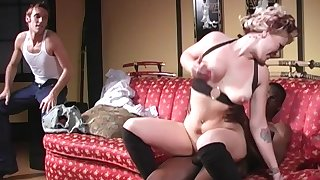 Blonde floosie Sweets Monroe pounded doggy by a frowning dude