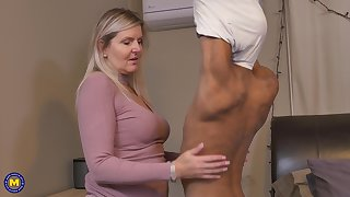 Blonde simmering matured MILF Velvet Skye pounded by a younger black guy