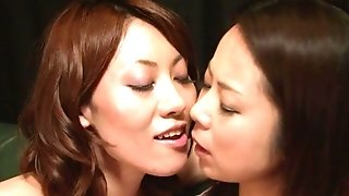 Japanese girl/girl mummies in spectacular g-strings make each other jism on the leather sofa sexvideo