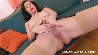 Mature glamorous brunette Lara strips added to fingers herself