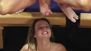 Teen floozy Melissa Lauren gang banged and cum covered in advance gym