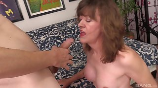 Mature unpaid blonde granny Cosset Morgan doggy fucked and fed cum