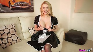 Wonderful blonde maid Amber Jayne is horny for petting herself