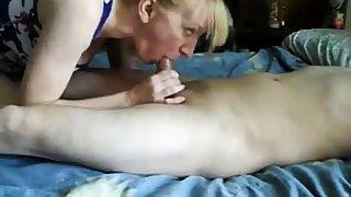 Mature girl handjob and cum swallow-CFNM