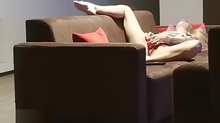 Caught my neighbor horny wife playing while home alone
