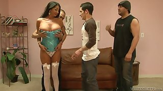 Experienced hooker with big boobs Nadia Night serves several dudes at the same time