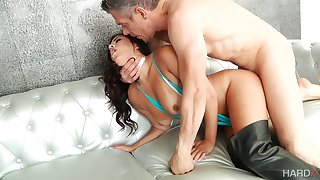 Ardent brunette with fabulous ass Monica Sage impresses dude with sex skills
