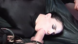 The man's huge dick gags her and treats her right