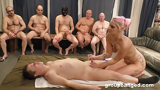 Blonde amateur pleases man with hot handjob