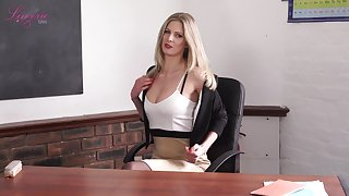 Elegant teacher Leah gets naked and shows off off her perky yummy tits