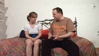 Fat man talking a shy German woman into having sex with him