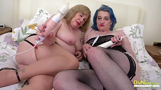 Two fat bitches playing with their toys and flashing their massive thighs