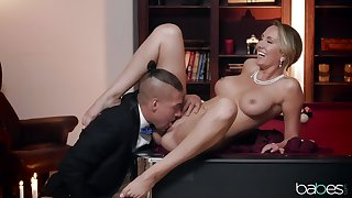 Mature wife Brett Rossi spreads her long legs on the pool table