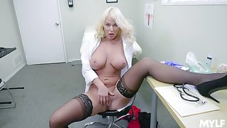 Blonde doctor shows off masturbating when alone in her office