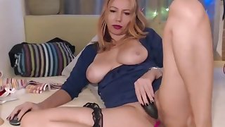 Gorgeous Blonde MILF Dildoing Her Asshole