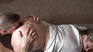 Heather enjoys working a cock in homemade video