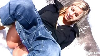 Exciting stepmom shows titties and pees in snow