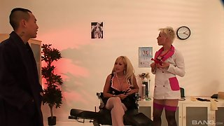 Wild threesome with nurses Savannah Gold and wild Columbia