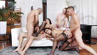 Full erotic fantasy in a homemade group orgy