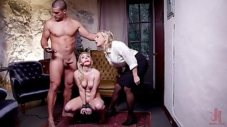 Submissive blonde roughly fucked in a brutal BDSM threesome