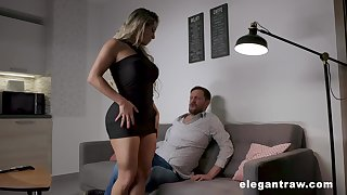 Thick thighed MILF with huge tits and fat ass having sex after a romantic date